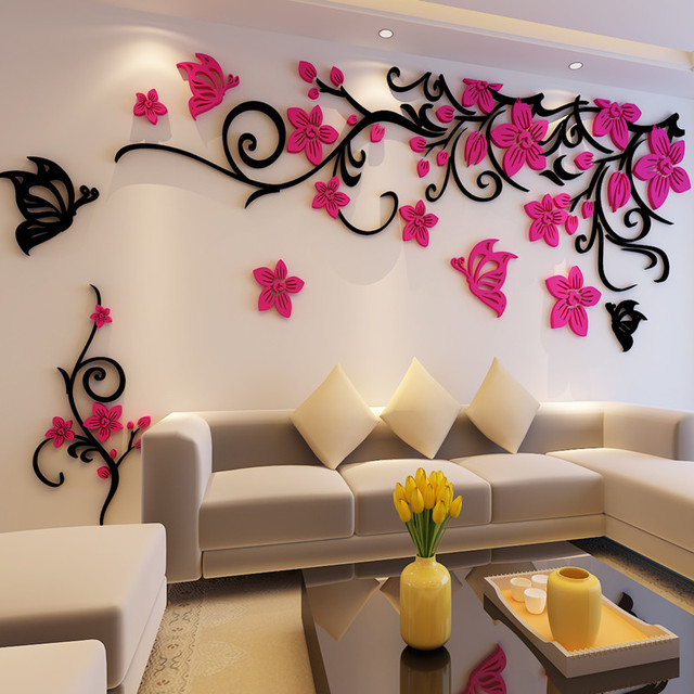 Flower Crystal Three Dimensional Tree Wall Stickers Acrylic Sofa Wall  Stickers Decor For Home DIY