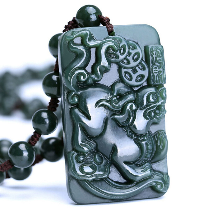 100% Natural Hetian Green  Carved Pixiu Coin Pendant 100% Natural Hetian Green  Carved Pixiu Coin Pendant