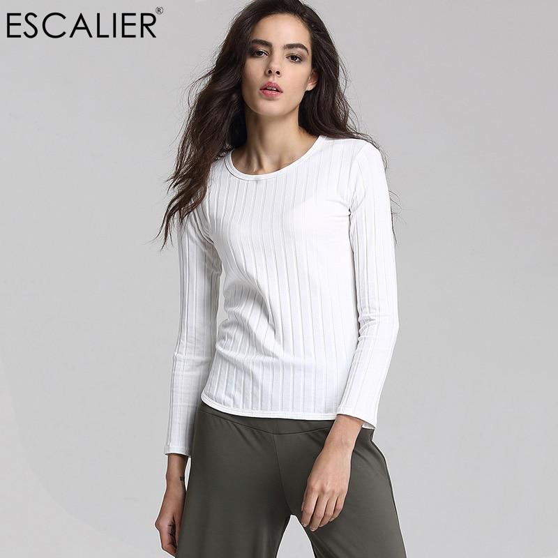ESCALIER Fashion 2017 Női Őszi pólók Elasztikus, karcsú meleg feszes alsó felső pólók Női elegáns kötött pulóver