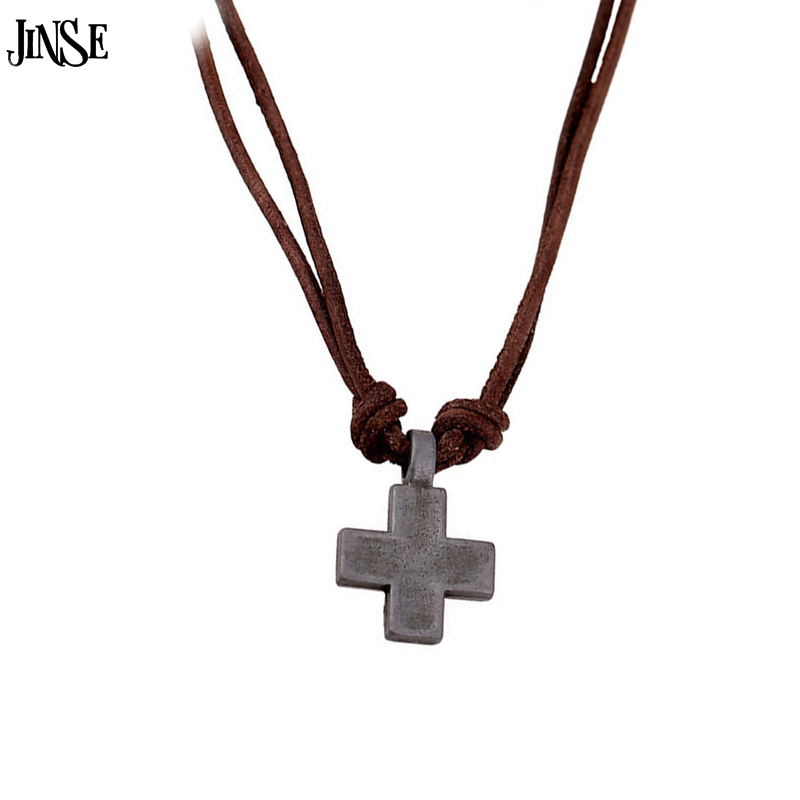 JINSE Men Genuine Leather font b Necklace b font New Cross font b Pendant b font