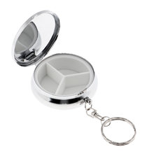 Mini 3 Compartments Eyeshadow Powder Keychain Case Pill Planner Organizer Box Mints Container for Purse Pocket(China)