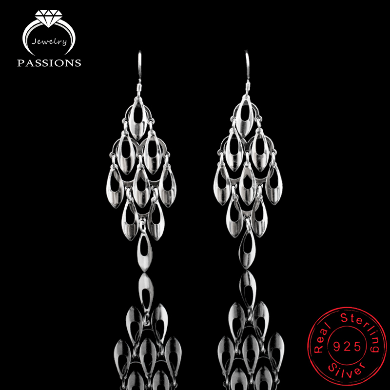 Νέο Maxi Bohemian Peacock Tail Tailel Long Dangle Earrings Fashion Fashion 925 Sterling Silver Drop Earring Women Jewelry Gift