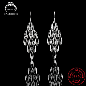 925 Sterling Silver Bohemian Peacock Tail Dangle Earrings