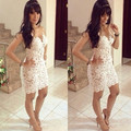 Fashion New White Lace Short Cocktail Dresses See Through Evening Party Gowns Vestidos De Festa Curto 2016