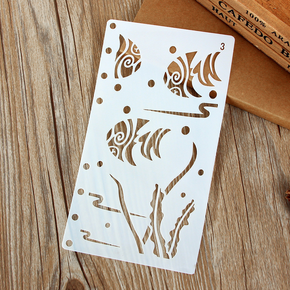1Pcs A6 Fish Water DIY Craft Layering Stencils Wall Painting Scrapbooking Stamping Embossing Album Paper Card Template