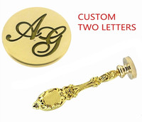 Vintage Custom Made Two Letters Monogram Personalized Letter Picture Logo Wedding Invitation Wax Sealing Seal Stamp Gold Metal P
