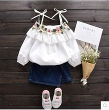 Girl coat 2017 spring new children harness lace flower embroidery doll shirt baby princess shirt