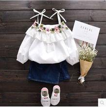 Fille manteau 2017 printemps nouveau enfants harnais dentelle fleur broderie poupée chemise bébé princesse chemise