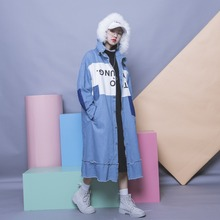 Street fashion color block letter flash clothing single breasted with a hood fur collar plus size