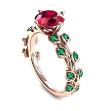 Red Color Zircon Ring Rose Romantic Finger for Women Wedding Jewelry