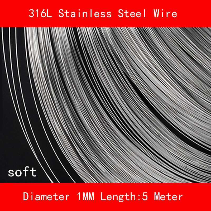 316L Stainless steel wire soft Diameter 1mm Length 5 meter 0 8mm 304 stainless steel wire bright surface diy materialhard steel wire cold rolled