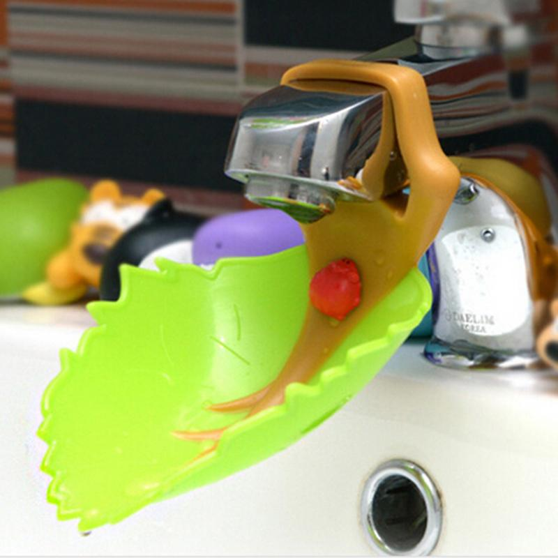 1 PCS Cute Creative Leaves Shape Baby Faucet Extender Baby Kids Hand ...
