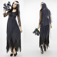 Free Shipping Brand New Women Black Lace Tulle Ghost Bride Clothing Halloween Cosplay Fancy Party Dress