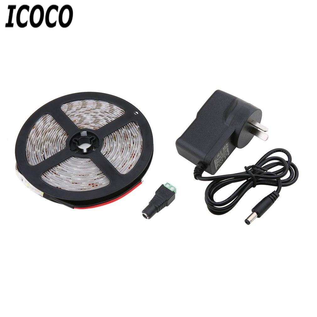 ICOCO 5M 300LEDs 3528 LED Strip Light with EU Plug Adapter Non-waterproof DC12V Festival Wedding Home Decor Lighting Sale