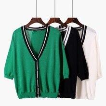 Summer New linen ladies Sunscreen Cardigan shirt V-neck Plus Top Sleeve Korean Sun Loose Leisure women clothes Plus Size 2019 leisure plus