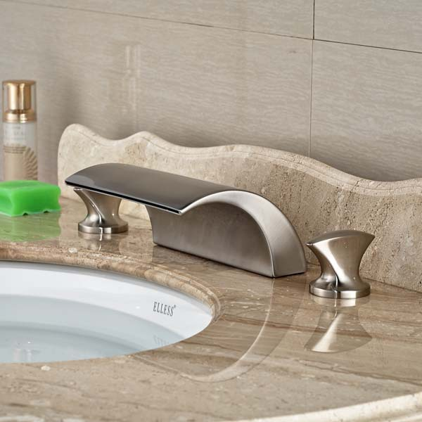 3pcs Waterfall Bathroom Basin Faucet   Hot and Cold Mixer Water Taps Brushed Nickel pastoralism and agriculture pennar basin india