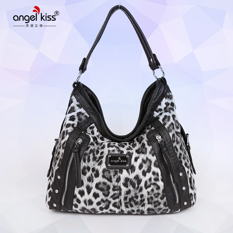 Angel Kiss Black Brown Leopard Middle-aged Lady Handbag Wholesale Simple Wild Leopard Print Clutch Crossbody Bags for Women leopard print knot hem tee