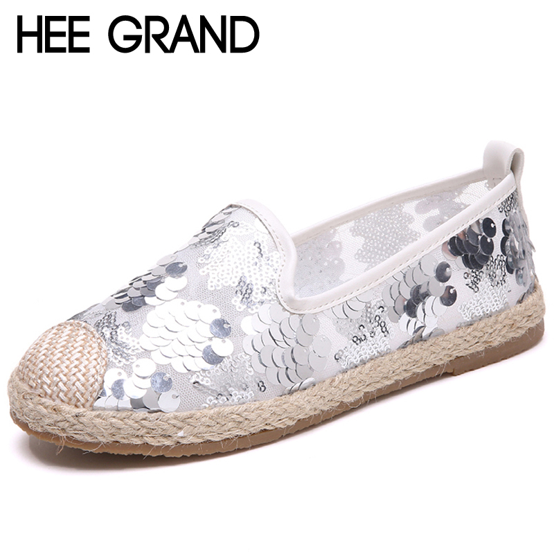 HEE GRAND Bling Bling Women Loafers Slip On Sliver Platform Flats Shoes Woman Mesh Air Lace Ladies Flat Canvas Shoes XWD6601 instantarts women flats emoji face smile pattern summer air mesh beach flat shoes for youth girls mujer casual light sneakers