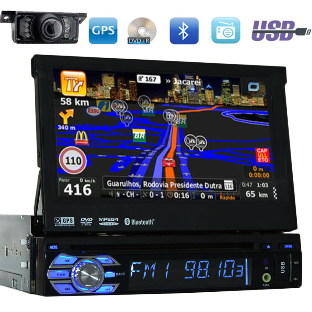 One din 7'' Universal Car DVD Player GPS Navigation 1 din Car Stereo Bluetooth Car Radio Audio Player FM AM USB iPod+Free camera joyous j 2611mx 7 touch screen double din car dvd player w gps ipod bluetooth fm am radio rds