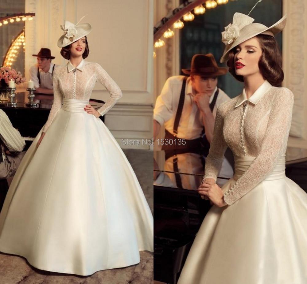 Vestidos De Novia 2016 Tatiana Kaplun Ball Gown Wedding Dresses High Neck Full Lace Long Sleeves Bodice Satin Bridal Gownshyd 25 In From