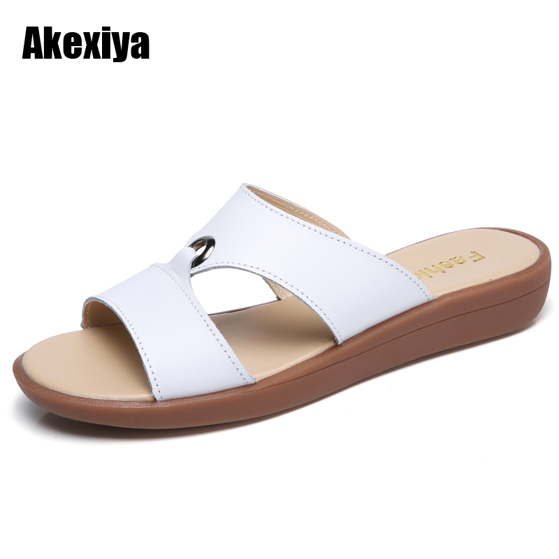 2018 summer slippers women flat sandals shoes Leisure slippers slip-on round toe genuine leather sandals flip flops m505 mnixuan women slippers sandals summer
