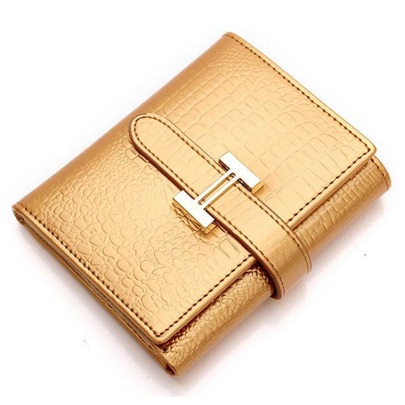 New Genuine Leather Crocodile Pattern Women Wallets Fashion Cowhide Coin Purse Short Design Wallet Alligator Card