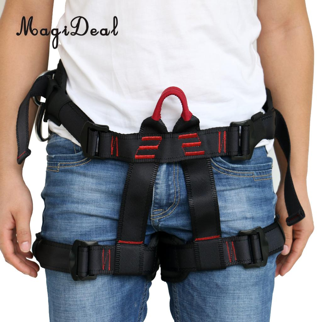 MJagiDeal Professional 22KN Harness Bust Seat Belt Outdoor Rock Climbing Harness Rappelling Floor Escape Harness Seat Equipment 25kn professional carabiner d shape safety master lock outdoor rock climbing buckle equipment