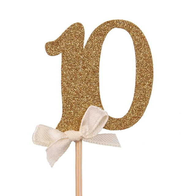 Glittery Number Shaped Cake Toppers 10 pcs Set