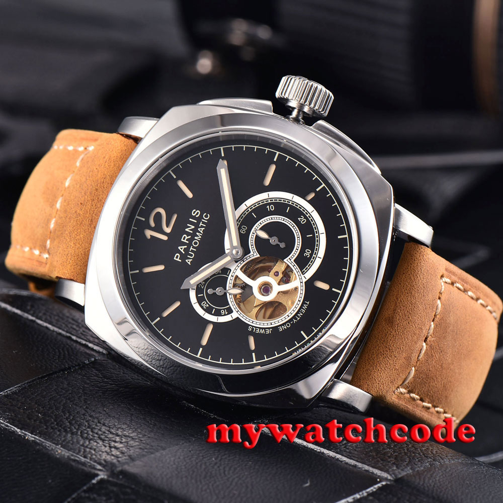 44mm parnis black dial luminous orange marks 21 jewels miyota automatic mens watch все цены
