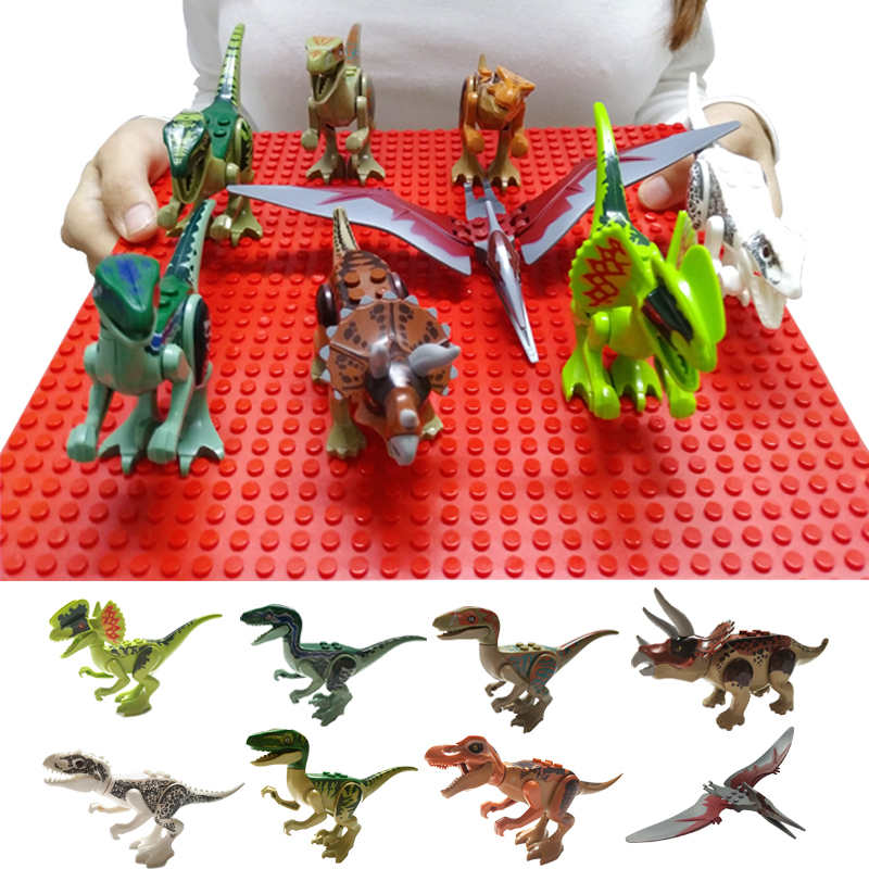 Building Blocks Kids Assemble Toy Bricks Dinosaur World Pterosaurs Triceratops Animal Figures Models Toys For Children Gift