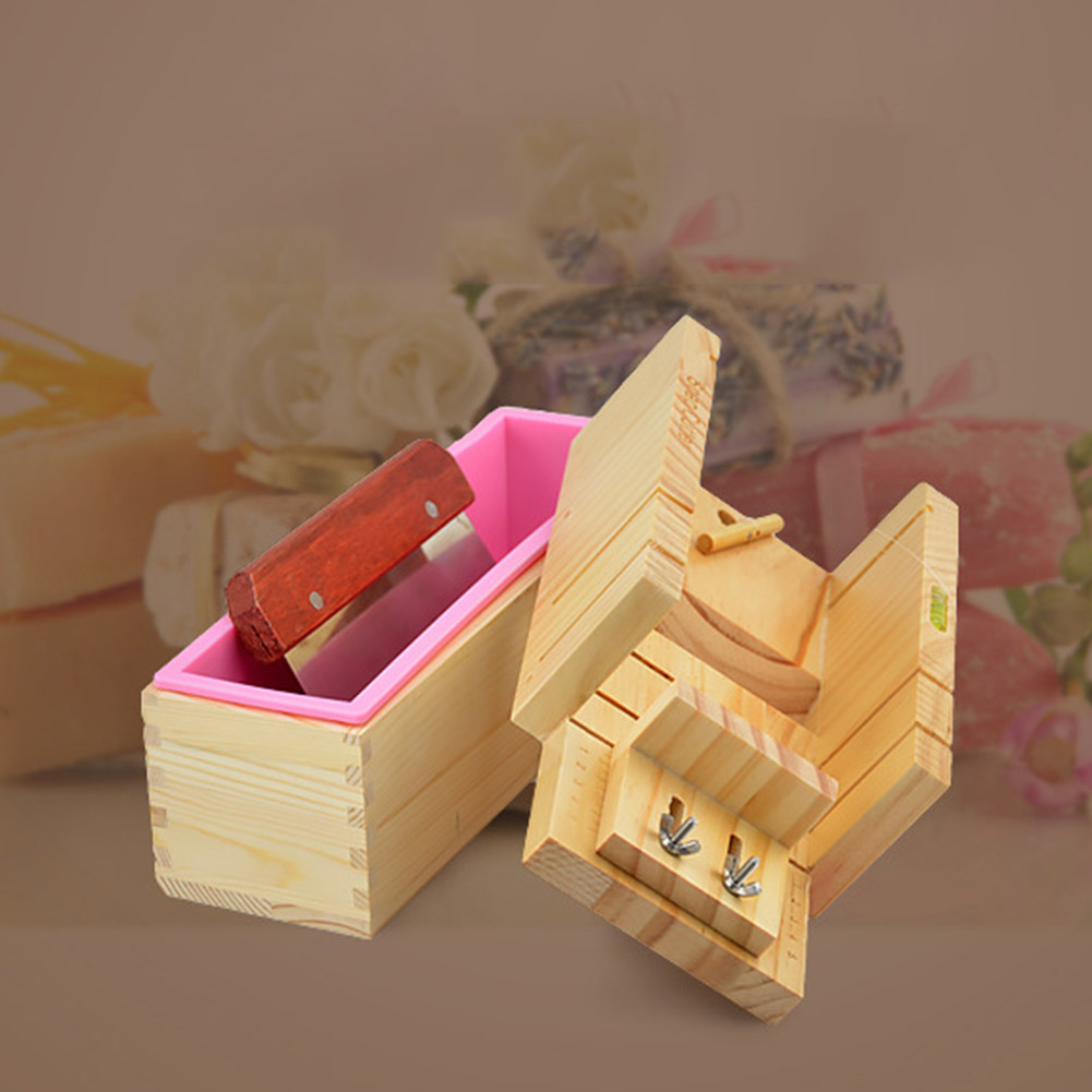 Loaf Soap Mould Silicone Wooden Mold Soap Making Tools Slicer Cutter DIY Carfts HYD88