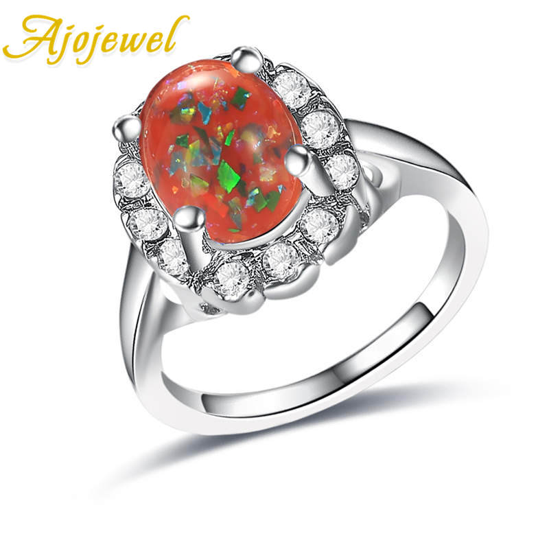 Ajojewel Hot Sell Big Blue/White/Yellow/Red Opal Shinning Beautiful Cameo Rings For Women Wedding Gift bijoux femme