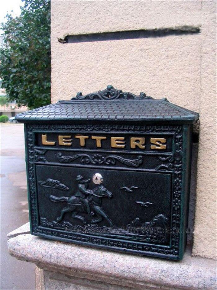 Литой Алюминий почтовый ящик для дома металлический замок для почтового ящика настенное крепление темно зеленый Винтаж почтовый буквами п