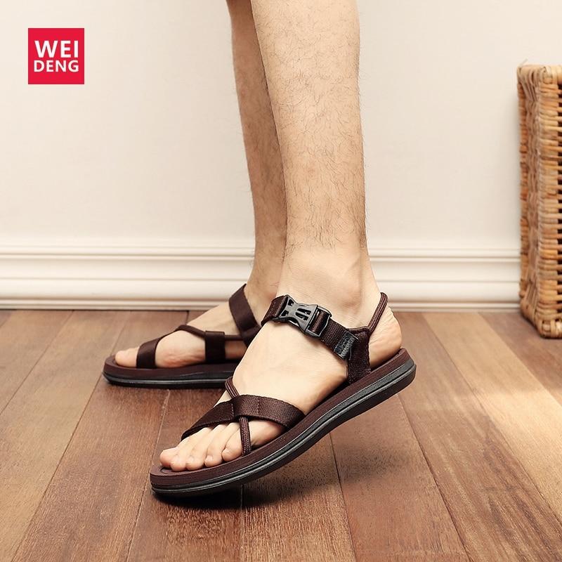 Weideng Sandal Slippers Women Shoes Open-Toe Buckle Mesh Flat Designer Plus-Size Summer