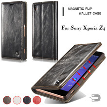 CaseMe Brand Leather Case for Sony Xperia Z4 Flip Stand Card Holder Wallet Bag Cover Phone Cases Coque Fundas
