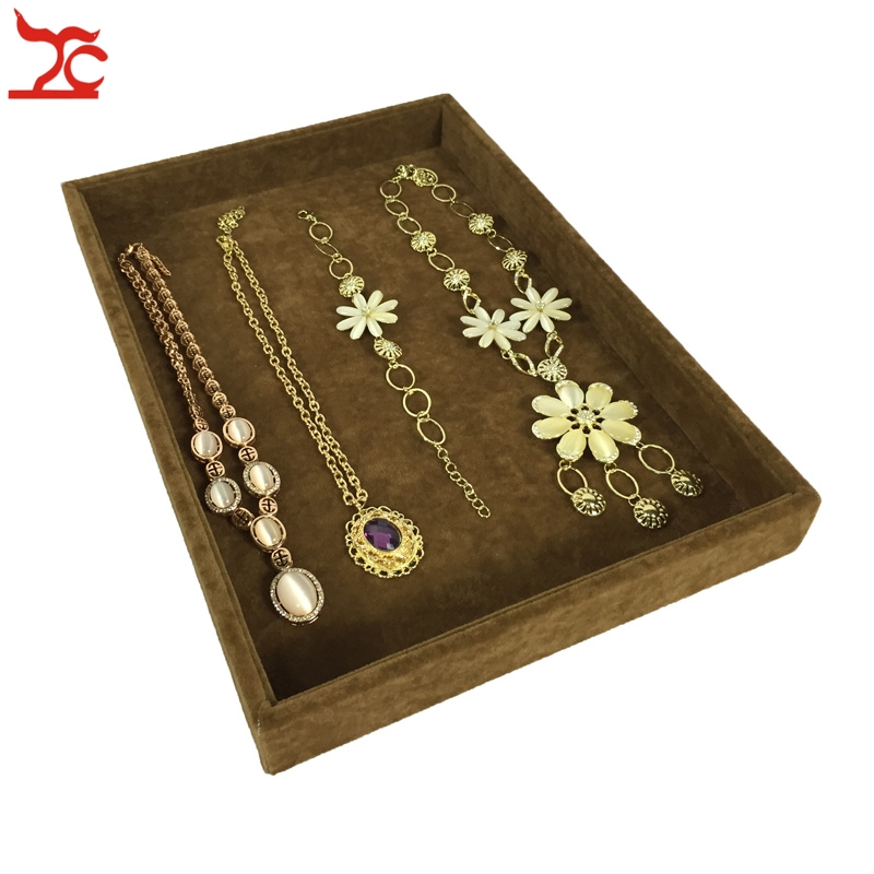 High Quality Velvet Jewelry Display Case Brown Necklace Bracelet