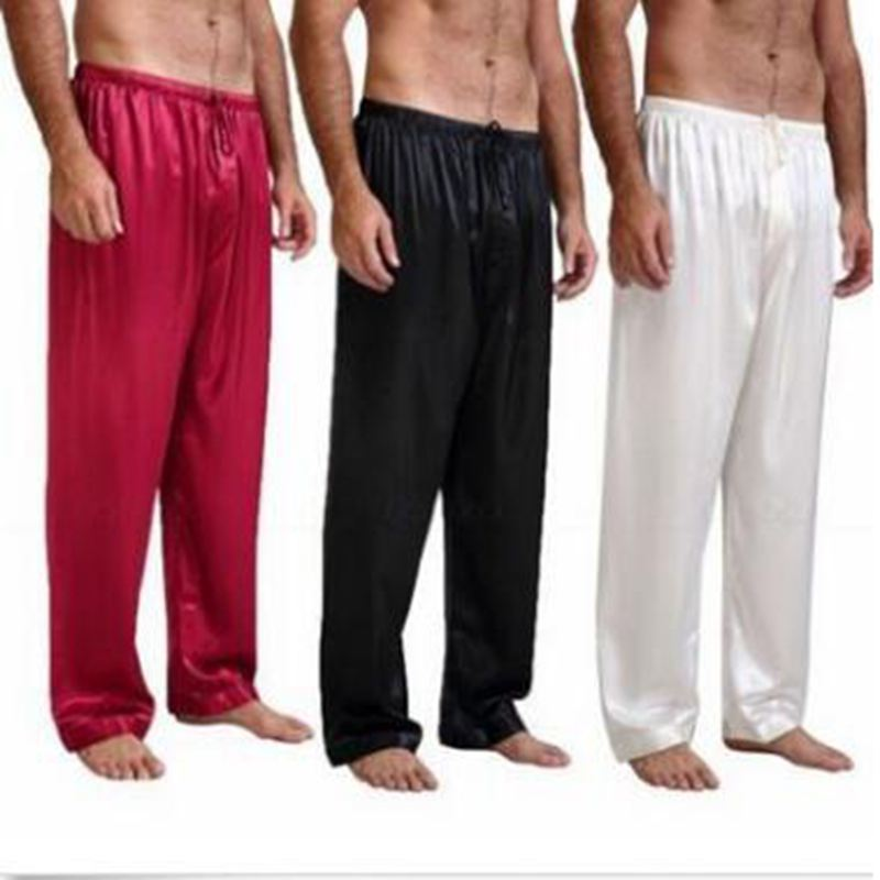 1 Pcs Fashion Mens Silk Satin Pajamas Pyjamas Pants Home Breathable Loose Sleep Pants Nightwear Sleepwear Trousers S~XL LTT9803