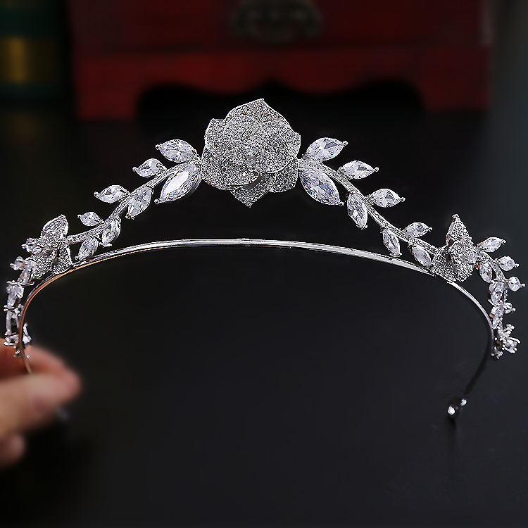 Paved CZ Crown Cubic Zircon Tiara Princess Tiaras Wedding Hair Accessories Bride Hair Jewelry Bijoux Cheveux Coroa Rose WIGO1191 03 red gold bride wedding hair tiaras ancient chinese empress hat bride hair piece