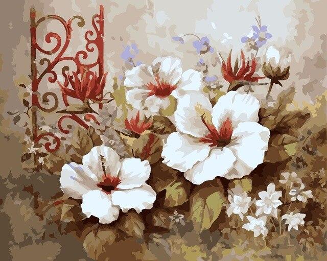 Frameless Diy Lukisan Minyak Dengan Angka Di Atas Kanvas Bunga Putih