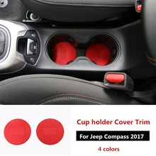 2 stuks Voor Cup Water Houder Buttom Cover Trim Alloy Cup Pad Voor Jeep Compass 2017