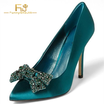 Satin Turquoise Heels Pointy Toe Rhinestone Bow Stiletto Heel Pumps women shoes crytal fashion sexy dress peep toe FSJ slip on