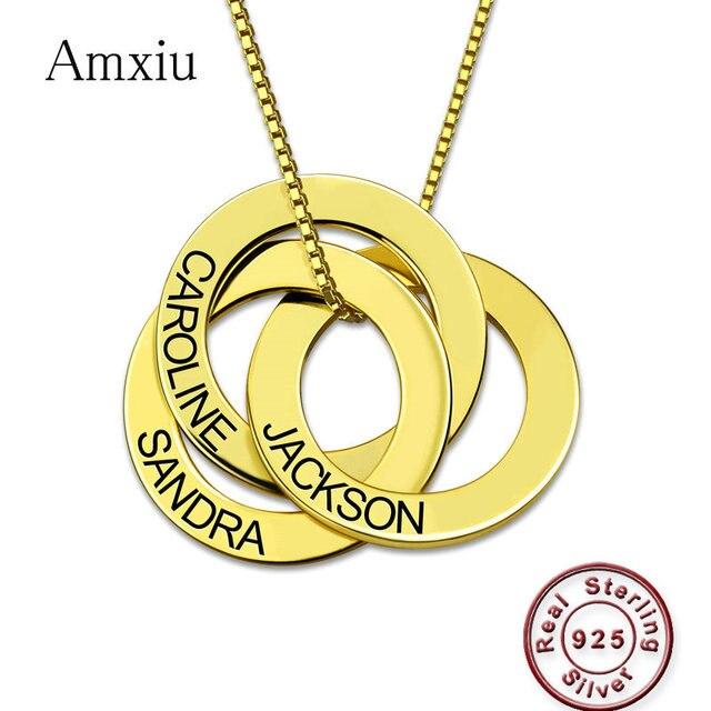Amxiu مخصص 100% 925 الاسترليني قلادة فضية نقش 2 5 أسماء الروسية دائرة قلادة للنساء الرجال هدية جواهر ذات طابع شخصي