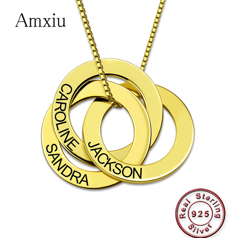 Amxiu Custom 100% 925 Sterling Silver Necklace Engrave 2-4 Names Russian Circle Necklace For Women Men Gift Personalized JewelryAmxiu Custom 100% 925 Sterling Silver Necklace Engrave 2-4 Names Russian Circle Necklace For Women Men Gift Personalized Jewelry