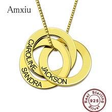 Amxiu Personalizzato 100% 925 Collana In Argento Sterling Incidere 2 5 Nomi Russo Della Collana del Cerchio Per Le Donne Degli Uomini del Regalo Personalizzato gioielli