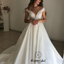 New Elegant Satin Wedding Dresess 2019 abiti da sposa Chapel Train V neck Bride Dress Corset