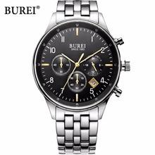 BUREI impermeable hombres reloj de cuarzo de zafiro relojes analógico reloj automático para hombre de acero inoxidable a prueba de golpes BM-7006-P5