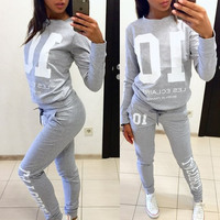 causal wear jogger long sleeve 2 pc set sweatshirt pants women casual tracksuits two piece suit conjunto chandal mujer completo