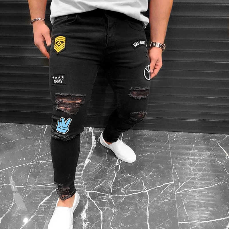 New Style 2019 Men's Embroidered hole Jeans Slim Hip-Hop Black Jeans