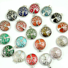 Natural Stone Quartz Opal lapis Pendant Handmade Silver Color Tree of Life Round Shaped etc Reiki Jewelry necklace Making 10pcs