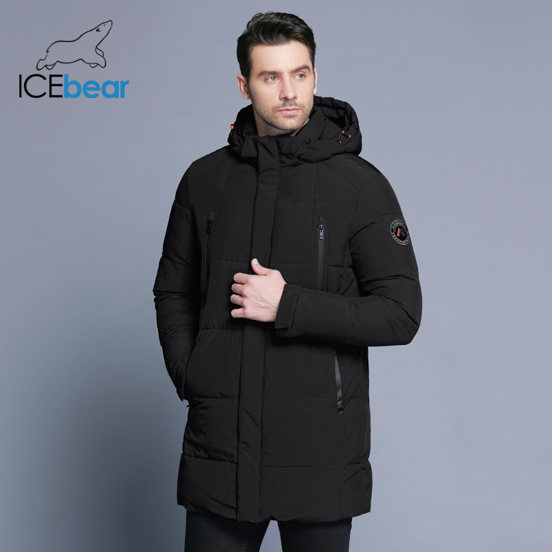 ICEbear 2018 Men's Apparel Winter Jacket Men Mid-Long Slim Thick Warm Top Quality Waterproof Zipper Brand Coat For Men 17MD942D pu leather spliced rib hem epaulet design stand collar long sleeves slimming jacket for men